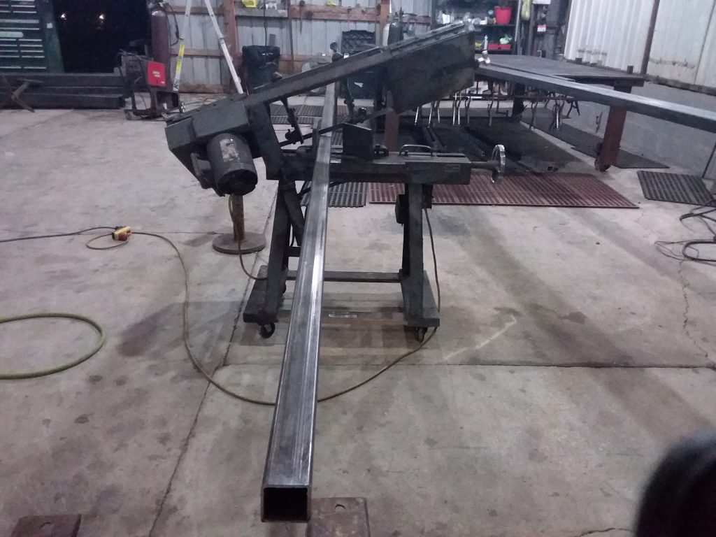 Sawing steel gate frame for South Bend Gary Indiana Driveway Gates1