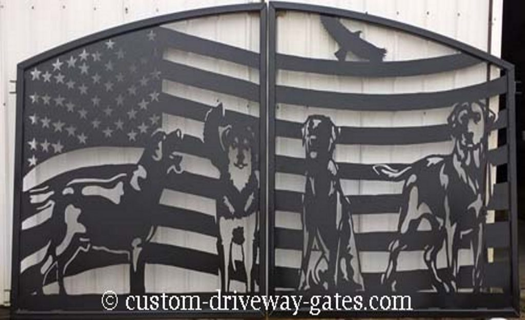American flag driveway gates with dogs plasma cut from steel with arched tops.