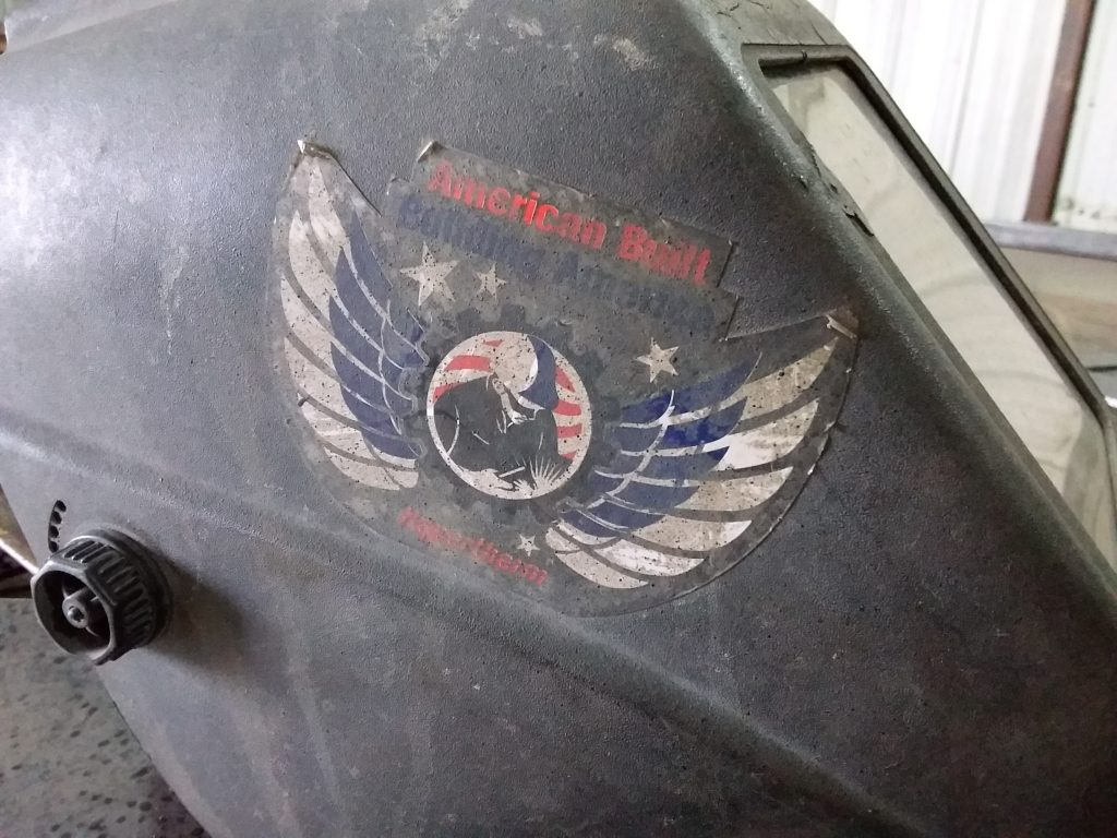 Design of hypertherm logo on welding hood.