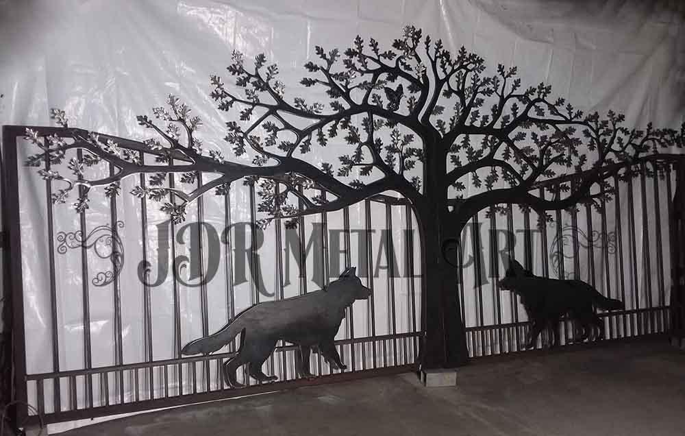 Iron Gates with German Shepherds & Tree