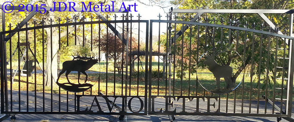 Traditional aluminum gates with fleur de lis.