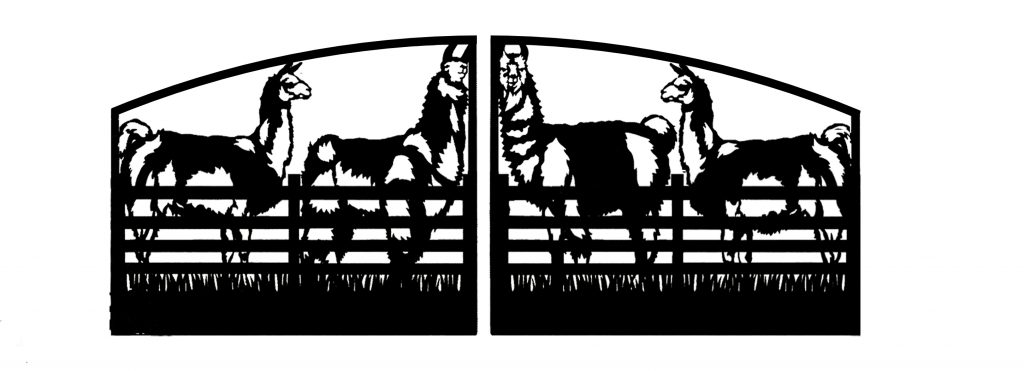 Farm driveway gates with llama design by JDR Metal Art.