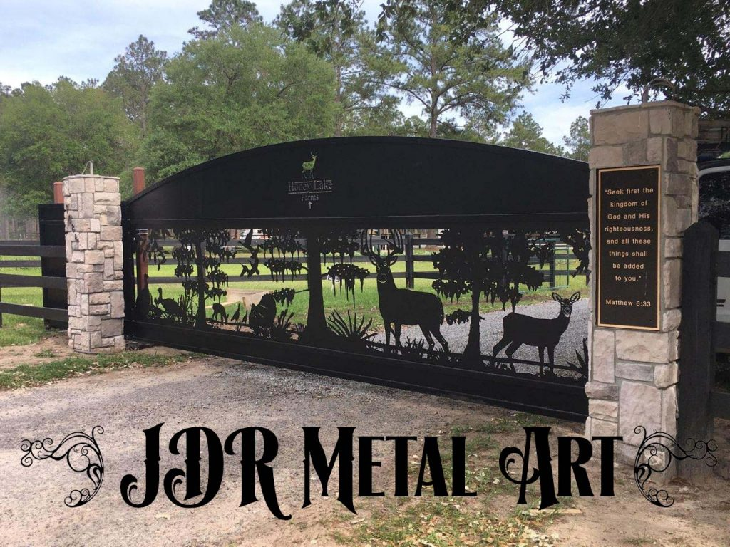 Custom aluminum driveway gate for Florida entrance, 20' wide designed by JDR Metal Art.