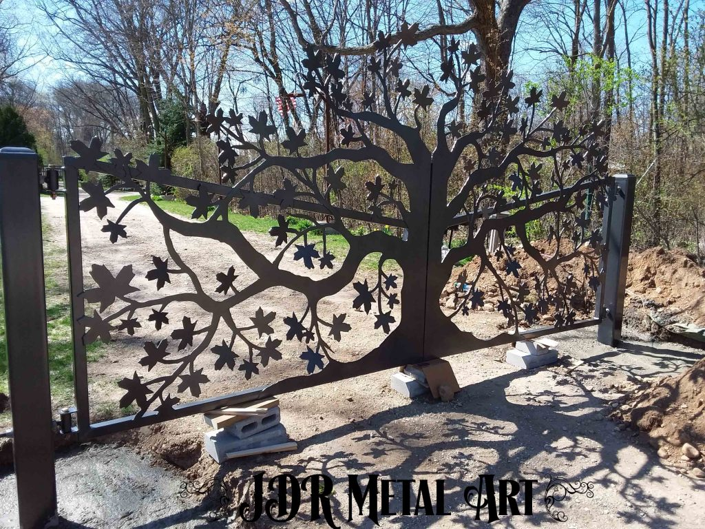 Driveway gate design with maple theme by JDR Metal Art