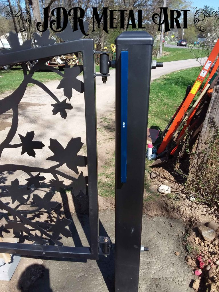 driveway gate post with hinges by JDR Metal Art