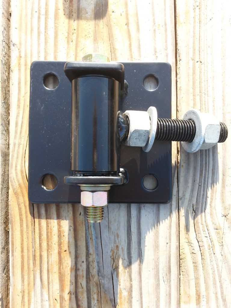Hinge plates that can be bolted to stone, brick, concrete or masonry columns.