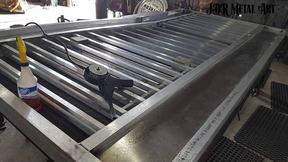 Aluminum pickets for custom aluminum gate in Pensacola.