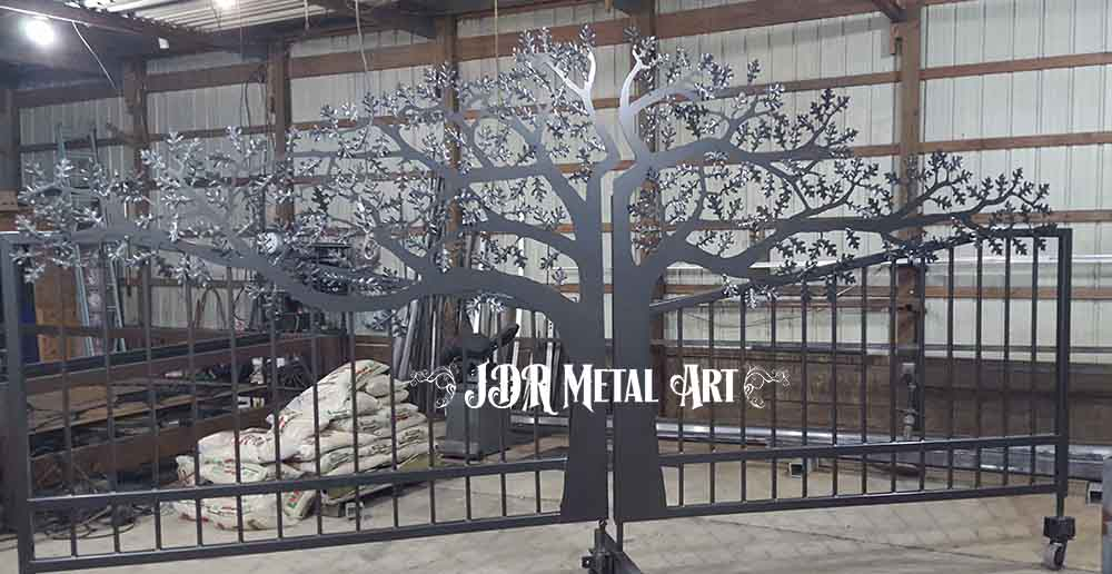 "Bronze powder coated iron oak tree gate, 18' wide x 7'6"" tall in the center."