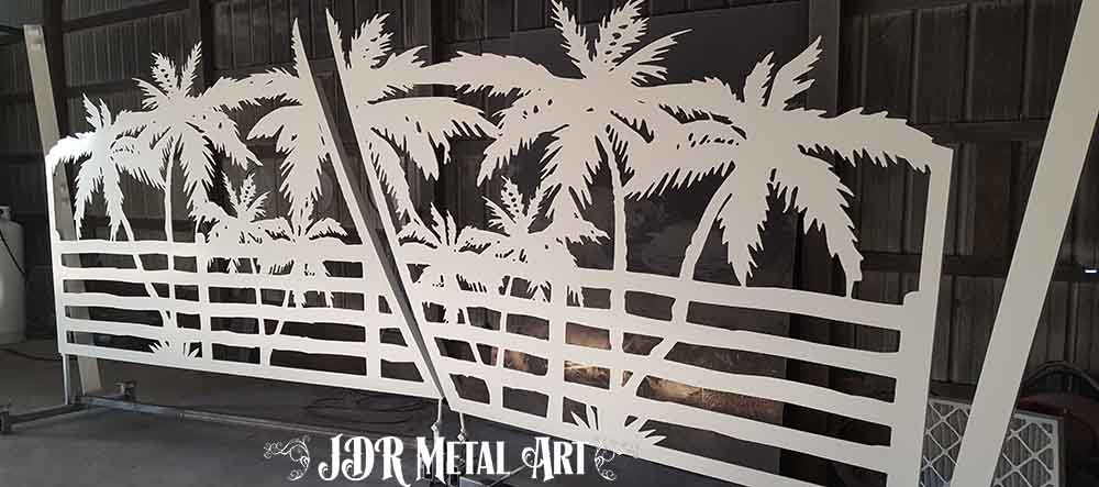 Aluminum Driveway Gates | Custom Florida Keys Project | Palm Trees & Fence Design by JDR Metal Art