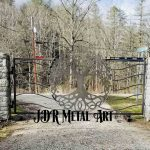 Metal driveway gate by JDR Metal Art installed in Lexington, Kentucky.