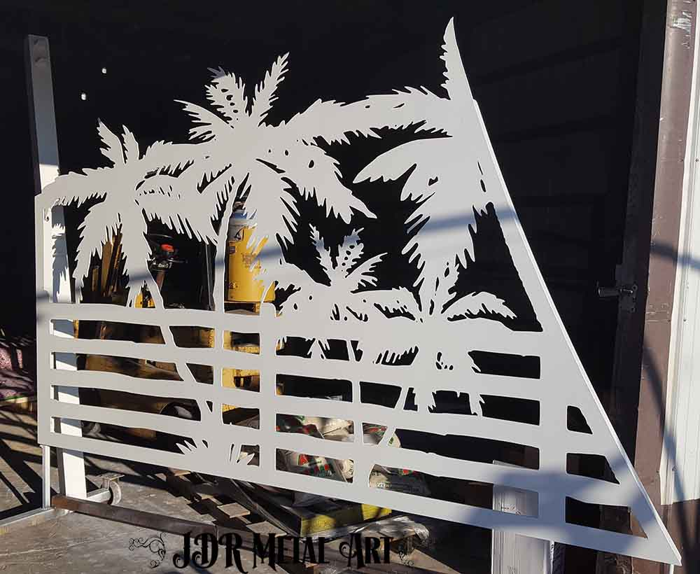 Aluminum gate panel after it was powder coated white by JDR Metal Art.