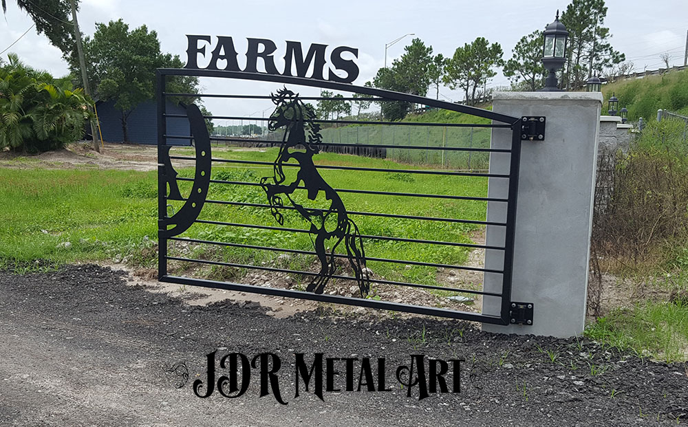 Rearing stallion gate design by JDR Metal Art for Florida Farm.