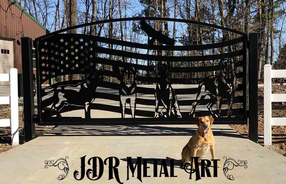 Custom driveway gates with modern design by JDR Metal Art.