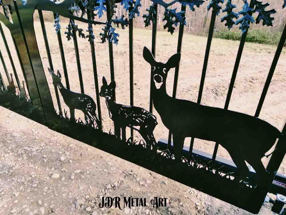 Whitetail deer on driveway gate