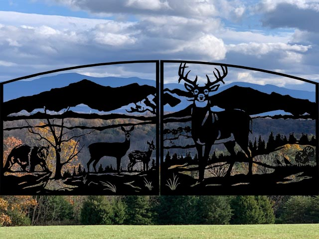 Custom gate design with personalized details including silhouettes of customer's mountains in the background.