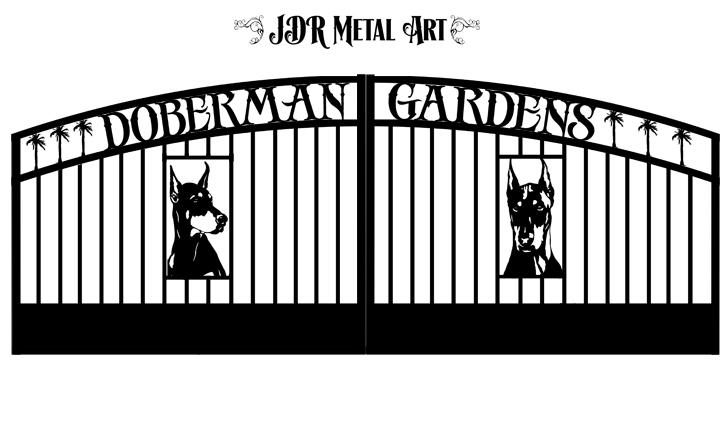 Custom gates for business driveway with doberman design.