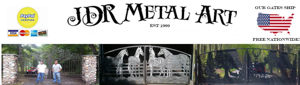 Driveway gates for sale by JDR Metal Art.