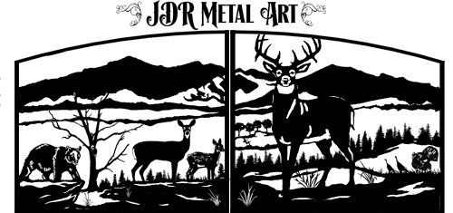 Driveway gates with mountain theme. Silhouette includes designs of deer, turkey and black bear.