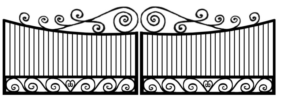 Heart shaped scrolls on swinging wrought iron driveway gates with pickets.