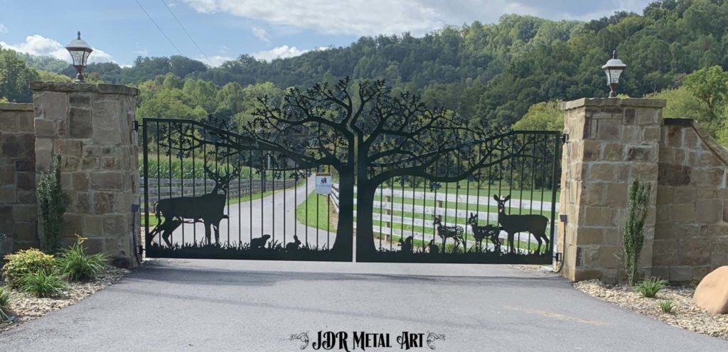 Driveway gates by JDR Metal Art with customized designs.