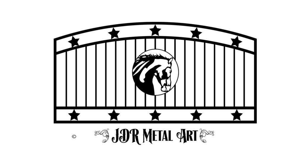 Driveway gate with star design for ranch by JDR Metal Art.