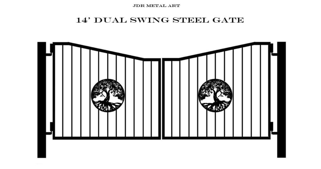Tree of life traditional style driveway gate with posts.