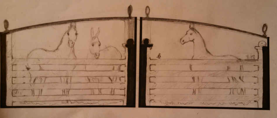 Driveway gate design with horses sketched on paper.