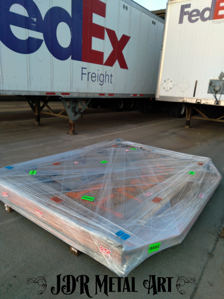 Driveway gate pallet on loading dock at FedEx Freight.