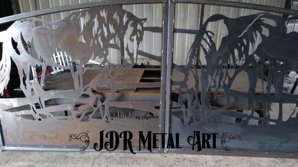 Metal gates with horse design
