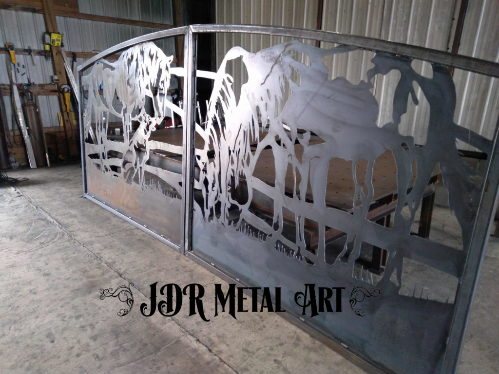 Right side panel of double swinging ranch driveway gates