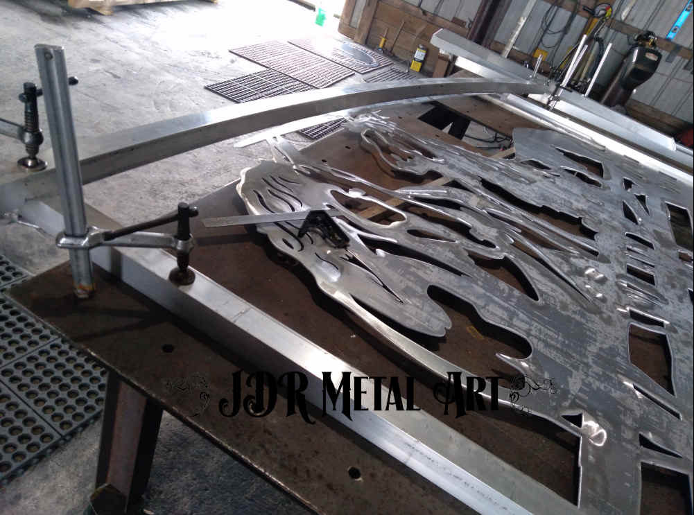 aluminum driveway gate during fabrication and manufacturing