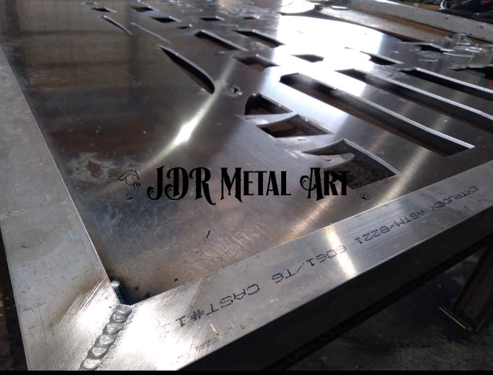 aluminum driveway gate on welding table