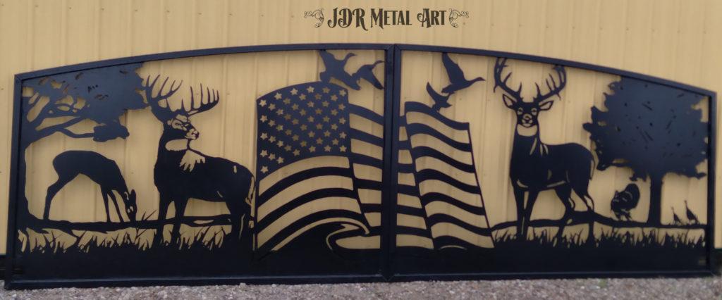 Driveway gates with custom gate design of American Flag, plasma cut steel design for driveway entrance.
