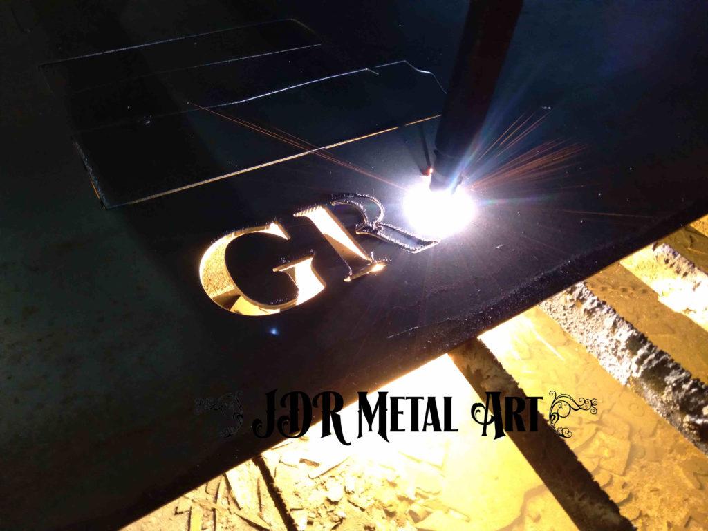Plasma cutting steel gate lettering